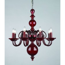 Impex Salas Chandelier Red - 8 Light