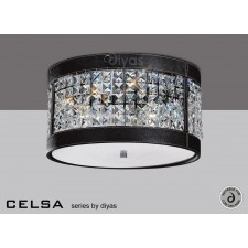 Diyas Celsa Ceiling 3 Light Polished Chrome/Black Faux Leather/Crystal