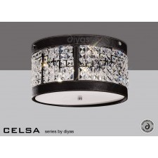 Diyas Celsa Ceiling 3 Light Polished Chrome/Dark Brown Faux Leather/Crystal