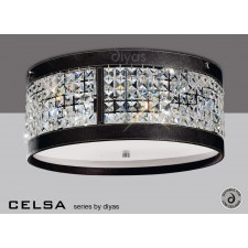 Diyas Celsa Ceiling 4 Light Polished Chrome/Dark Brown Faux Leather/Crystal