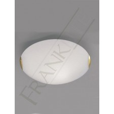 Franklite 400mm Circular Flush Fitting - Opal Glass, Brass Clasps