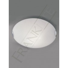 Franklite 400mm Circular Flush Fitting - Opal Glass, Chrome Clasps