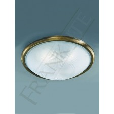 Franklite 400mm Circular Flush Fitting - Bronze, Frosted Prismatic Glass