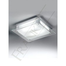 Franklite Square Flush Ceiling Light - Clear Acid Glass, Grey