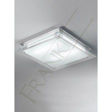Franklite 450mm Square Flush Ceiling Light - Clear Acid Glass, Grey