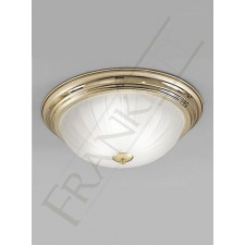 Franklite 390mm Circular Flush Fitting - Polished Brass, Ribbed Acid Glass