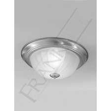 Franklite 355mm Circular Flush Fitting - Satin Nickel, Complete with Ribbed Glass