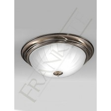 Franklite 390mm Circular Flush Fitting - Bronze, Ribbed Acid Glass
