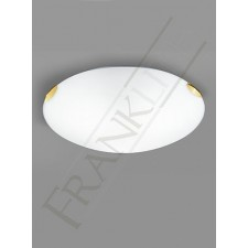 Franklite 485mm Circular Flush Fitting - Satin Opal Glass, Brass Clasps