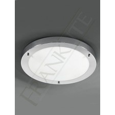 Franklite 410mm Circular Flush IP44 - Chrome, Matt White Glass