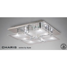 Diyas Chisora Ceiling 9 Light Chrome/Crystal