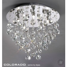 Diyas Colorado Ceiling 5 Light Round Polished Chrome/Crystal