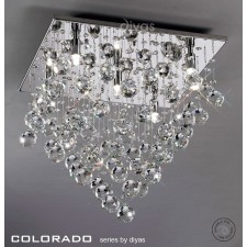 Diyas Colorado Ceiling 5 Light Square Polished Chrome/Crystal