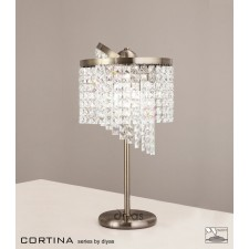 Diyas Cortina Table Lamp 3 Light Antique Brass/Crystal