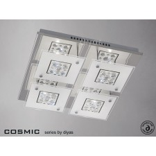Diyas Cosmic Ceiling 4 Light Square Polished Chrome/Crystal