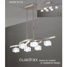 Cuadrax Telescopic Pendant 6 Lights Polished Chrome. Convertible To Semi Flush (Short Rod Included).