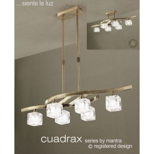 Cuadrax Telescopic Pendant 6 Light Antique Brass. Convertible To Semi Flush (Short Rod Included).