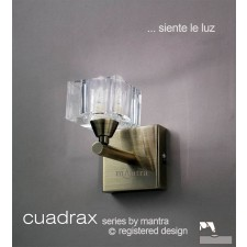 Cuadrax Wall Lamp 1 Light Antique Brass Switched