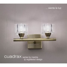 Cuadrax Wall Lamp 2 Light Antique Brass