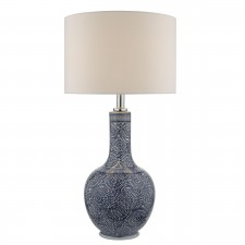 Cyan Table Lamp Ceramic Blue White Base Only