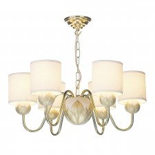 Dahlia 6 Light Ivory/Gold Pendant complete with S066 Shds