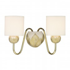 Dahlia 2 Light Wall Bracket Ivory/Gold Pendant complete with S066 Shds