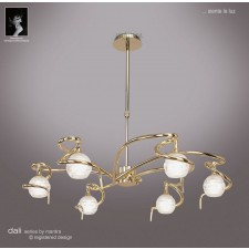 Dali Telescopic Pendant Round 6 Lights Polished Brass