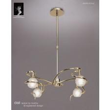Dali Telescopic Pendant Round 4 Lights Polished Brass