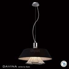 Diyas Davina Pendant 3 Light Polished Chrome/Crystal With Black Shade