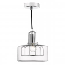Defoe 1 Light Pendant Polished Chrome Metal Cage Clear Glass