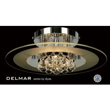 Diyas Delmar Flush Round 4 Light Polished Chrome/Crystal