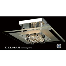 Diyas Delmar Flush Square 4 Light Polished Chrome/Crystal