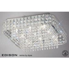 Diyas Edison Ceiling Large Square 9 Light Polished Chrome/Crystal