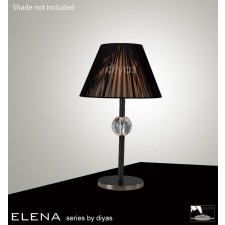 Diyas Elena Table Lamp 1 Light Black Chrome/Crystal