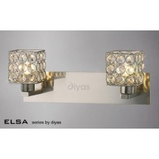 Diyas Elsa 2 Light Wall Bracket Satin Nickel/Crystal