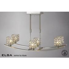 Diyas Elsa 6 Light Telescopic Pendant Satin Nickel/Crystal