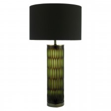 Emerald Table Lamp Brown Green Glass complete with Shade