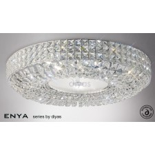 Diyas Enya Flush Ceiling 9 Light Polished Chrome/Crystal