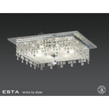 Diyas Esta Ceiling Square 6 Light Polished Chrome/Crystal