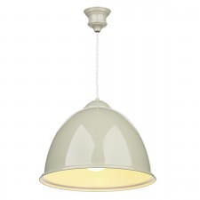 Euston 1 Light French Cream Pendant White Gloss Inner