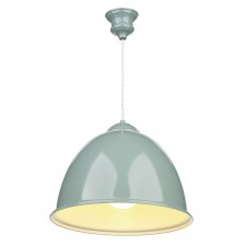 Euston 1 Light Blue Verditer Pendant White Gloss Inner