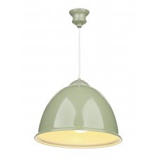 Euston 1 Light Olive Green Pendant White Gloss Inner