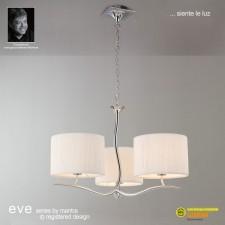 Eve Pendant 3 Light Polished Chrome With White Shade
