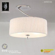 Eve Semi Ceiling 2 Light Polished Chrome With White Shade