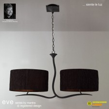 Eve Pendant 4 Light Antracite With Black Shade