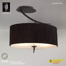 Eve Semi Ceiling 2 Light Antracite With Black Shade
