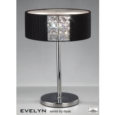 Diyas Evelyn Table Lamp 2 Light Chrome/Crystal With Black Shade