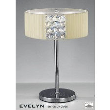 Diyas Evelyn Table Lamp 2 Light Chrome/Crystal With Cream Shade