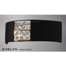 Diyas Evelyn Wall Lamp 2 Light Chrome/Crystal With Black Shade