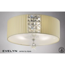 Diyas Evelyn Ceiling 3 Light Polished Chrome/Crystal With Cream Shade